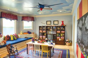 cube-shelving-unit-Kids-Traditional-with-airplane-ceiling-fan-clouds-on-ceiling-kids-chairs-kids-table-window-seat